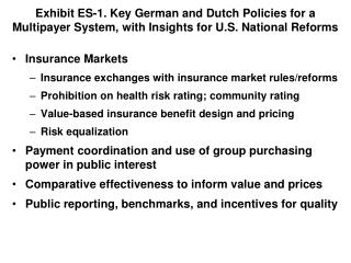 Exhibit ES-1. Key German and Dutch Policies for a  Multipayer System, with Insights for U.S. National Reforms