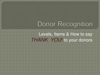 Donor Recognition