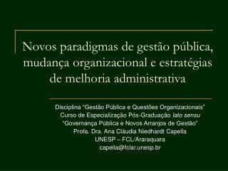 Novos paradigmas de gest o p blica, mudan a organizacional e estrat gias de melhoria administrativa