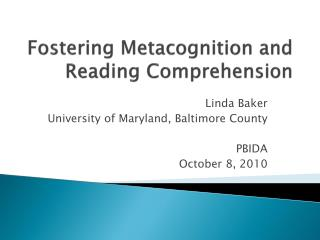 Fostering Metacognition and Reading Comprehension