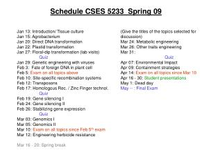 Schedule CSES 5233  Spring 09