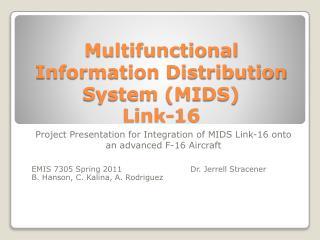 Multifunctional Information Distribution System MIDS  Link-16
