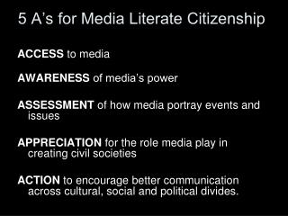 5 A s for Media Literate Citizenship