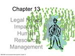 Legal Issues Impacting Human Resource Management