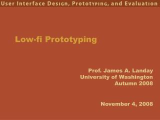 Low-fi Prototyping