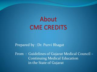 About  CME CREDITS