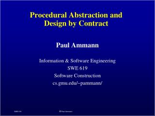 Procedural Abstraction and  Design by Contract