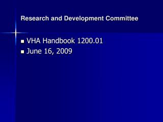 Research and Development Committee