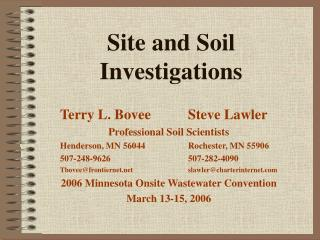 Site and Soil Investigations