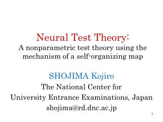 Neural Test Theory: A nonparametric test theory using the mechanism of a self-organizing map