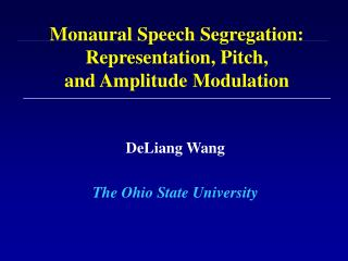 Monaural Speech Segregation: Representation, Pitch,  and Amplitude Modulation