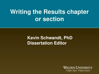 Writing the Results chapter or section
