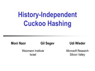 History-Independent Cuckoo Hashing