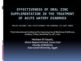 Effectiveness of Oral Zinc Supplementation in the Treatment of Acute Watery Diarrhea  INCLEN Childnet Zinc Effectiveness