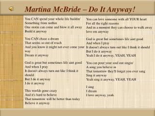 Martina McBride   Do It Anyway