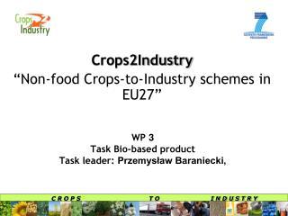 WP 3 Task Bio-based product  Task leader: Przemyslaw Baraniecki,