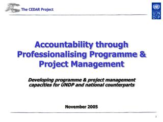 Accountability through Professionalising Programme  Project Management