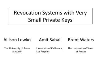 Revocation Systems with Very Small Private Keys