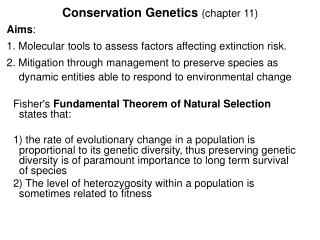 Conservation Genetics chapter 11