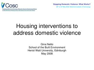 Housing interventions to address domestic violence