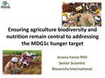 Ensuring agriculture biodiversity and nutrition remain central to addressing the MDG1c hunger target