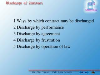 1 Ways by which contract may be discharged 2 Discharge by performance 3 Discharge by agreement 4 Discharge by frustratio