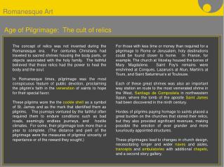 Age of Pilgrimage:  The cult of relics