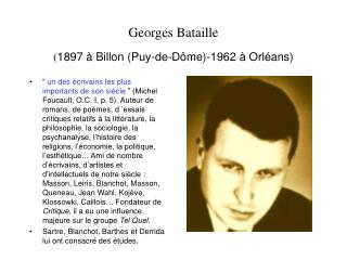 Georges Bataille  1897   Billon Puy-de-D me-1962   Orl ans