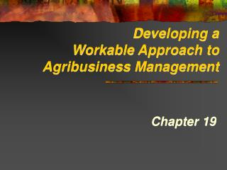 Developing a Workable Approach to Agribusiness Management