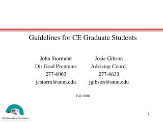 Guidelines for CE Graduate Students
