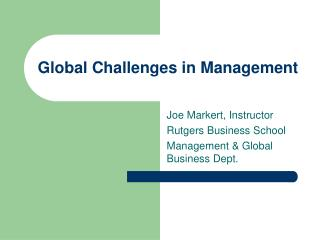 Global Challenges in Management