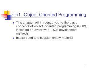 Ch1. Object Oriented Programming