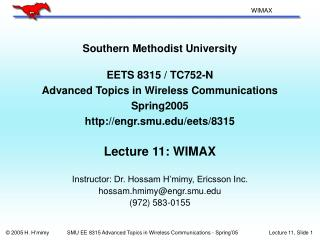 Southern Methodist University  EETS 8315