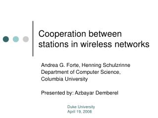Cooperation between stations in wireless networks
