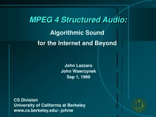 MPEG 4 Structured Audio: