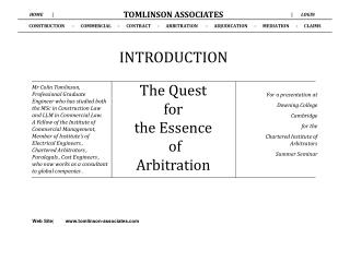 CONSTRUCTION       -      COMMERCIAL      -      CONTRACT      -      ARBITRATION       -      ADJUDICATION      -