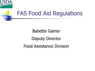 FAS Food Aid Regulations