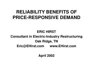 RELIABILITY BENEFITS OF PRICE-RESPONSIVE DEMAND