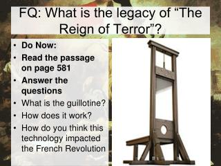 FQ: What is the legacy of  The Reign of Terror