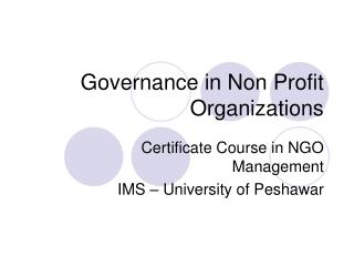 Governance in Non Profit Organizations