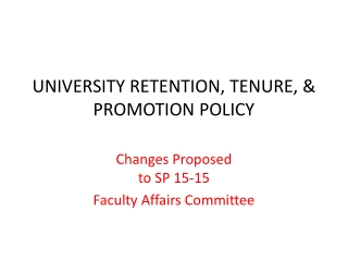 TENURE AND PROMOTION OF INSTRUCTIONAL FACULTY  EXPECTATIONS AND CRITERIA