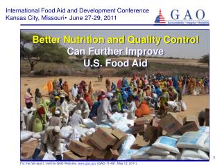 Better Nutrition and Quality Control  Can Further Improve U.S. Food Aid
