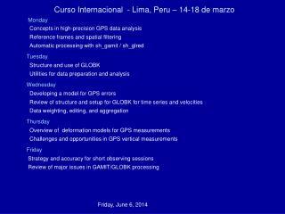 Curso Internacional  - Lima, Peru   14-18 de marzo