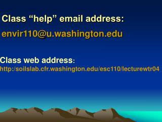 Class  help  email address: