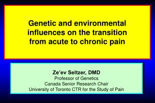 Genetic and environmental  influences on the transition  from acute to chronic pain