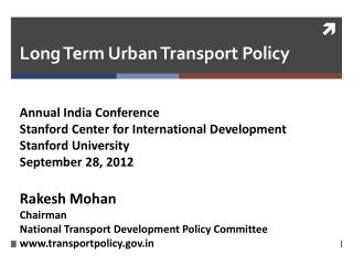 Long Term Urban Transport Policy