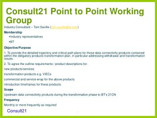 Consult21 Point to Point Working Group