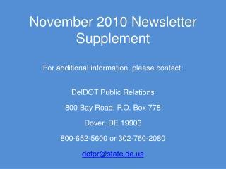 November 2010 Newsletter Supplement