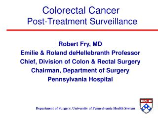 Colorectal Cancer  Post-Treatment Surveillance