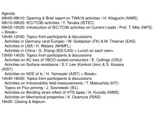 Agenda 09h00-09h10: Opening  Brief report on TWA16 activities